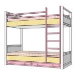 ROSE DREAMS Кровать двухъярусная ваниль/розовый/беж