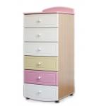 ROSE DREAMS Комод высокий ваниль/розовый/беж